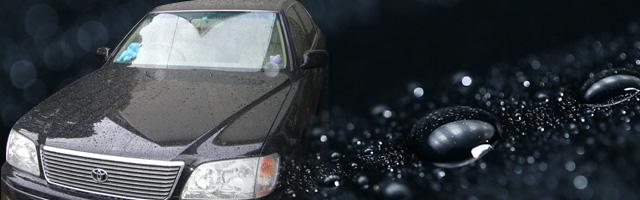撥水している状態の車